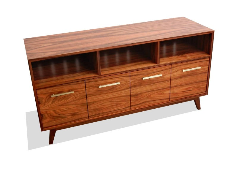 Mid-Century Modern Credenza Record Cabinet for Vinyl LPs and Audio/Visual Storage For Sale