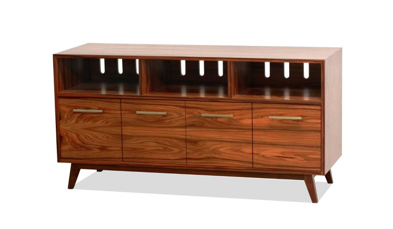 American Credenza Record Cabinet for Vinyl LPs and Audio/Visual Storage For Sale
