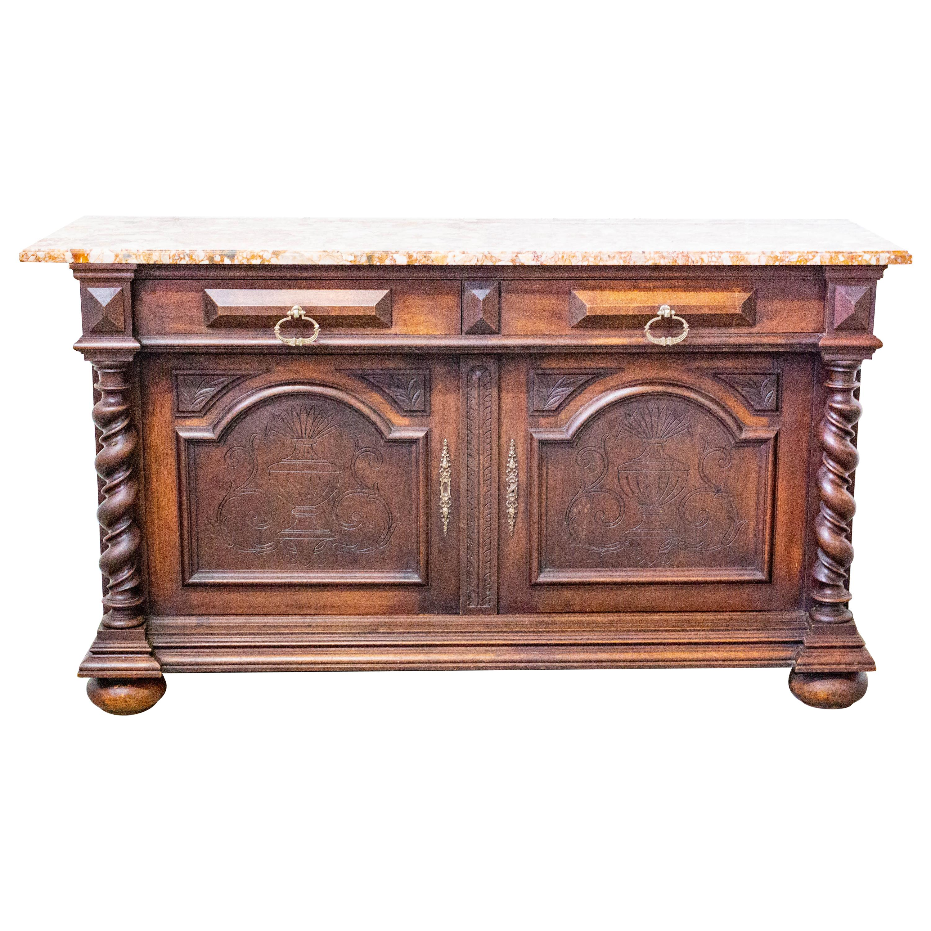 Credenza Sideboard French Marble-Top Buffet Louis XIII Style, Late 19th Century