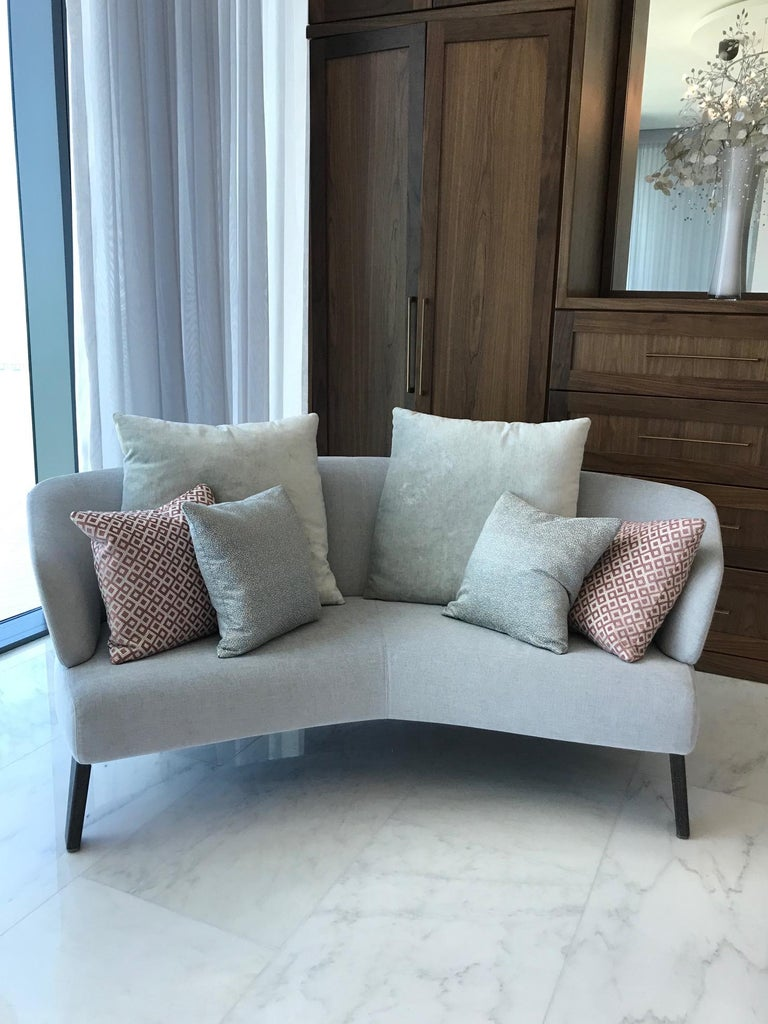 Stained Creed Curved Loveseat Designed by Minotti, Italy For Sale