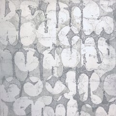 """""""Mute Eight"""", abstract soft ground etching monoprint, white, cool gray, silver ."""