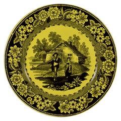 Creil et Montereau Canary Yellow Creamware Transferware Figural & Floral Plate