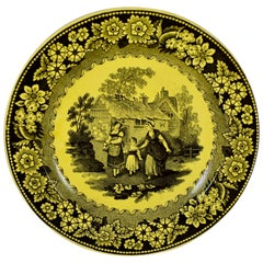 Creil et Montereau Canary Yellow Creamware Transferware Strolling Women Plate