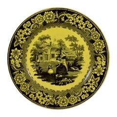 Creil et Montereau Canary Yellow Creamware Transferware Women & Child Plate