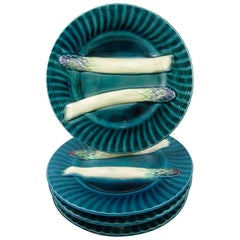 Creil et Montereau French Barbotine Teal Blue Fluted Asparagus Plates, Set of 4