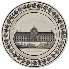 Creil Ét Montereau French Creamware École Militaire À Paris Architecture Plate