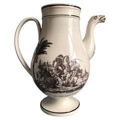 Creil Et Montereau Tea or Coffee Pot, Napoleonic Military, circa 1820
