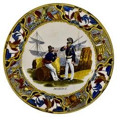 Creil Polychrome Transferware French Revolution Gallic Marins Sailor Plate