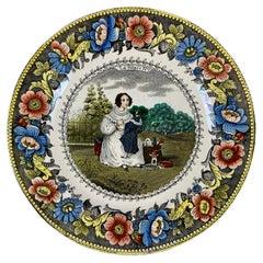 Creil Polychrome Transferware Polychrome Plate – La Poupeé, The Doll, circa 1830
