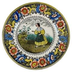 Creil Polychrome Transferware Polychrome Plate, Le Nid D'Oiseau, circa 1830