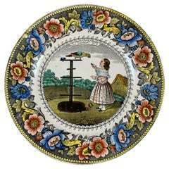 Creil Polychrome Transferware Polychrome Plate, Le Perroquet, circa 1830