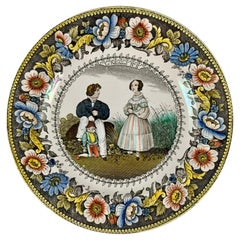 Creil Polychrome Transferware Polychrome Plate, Le Polichinel, circa 1830