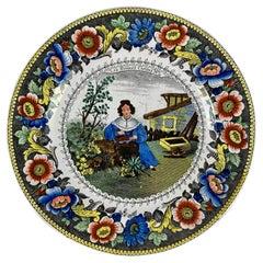 Creil Polychrome Transferware Polychrome Plate, Les Bonnes Cerises, circa 1830