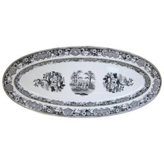Creil Pottery Fish Platter with Black Print Decoration
