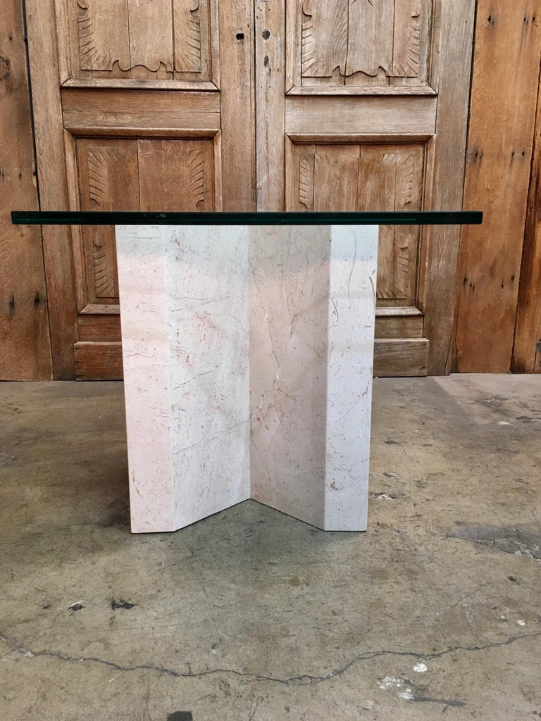 Italian Crema Italia, Beige Marble X Base Side Table For Sale