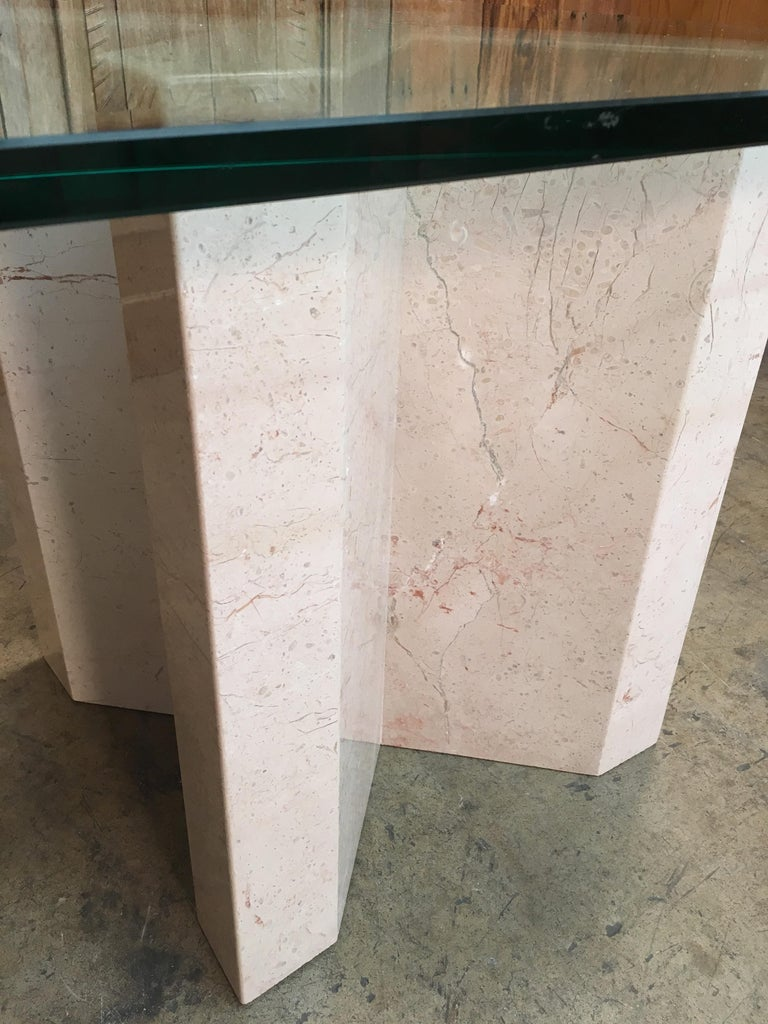Crema Italia Beige Marble X Base Side Table For Sale At