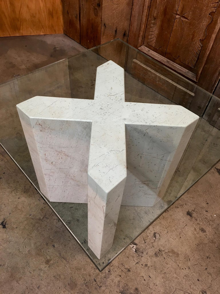 20th Century Crema Italia, Beige Marble X Base Side Table For Sale