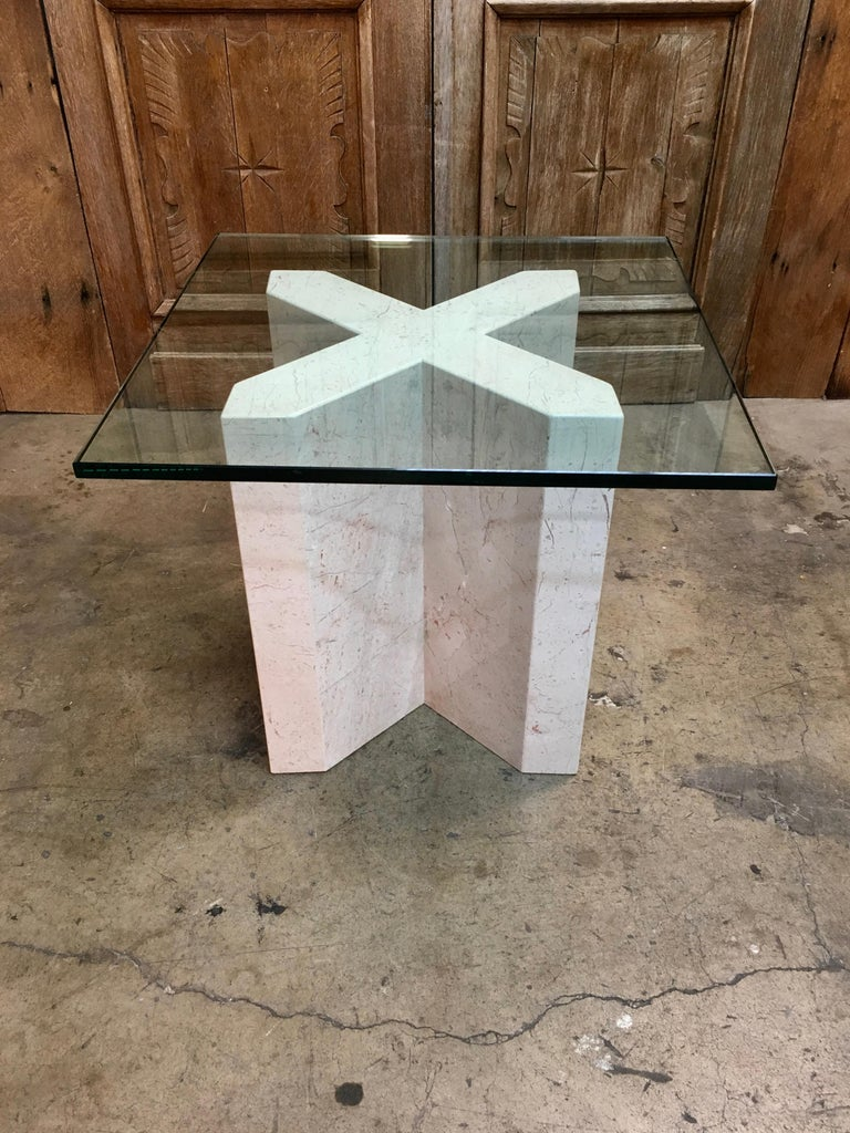 Glass Crema Italia, Beige Marble X Base Side Table For Sale