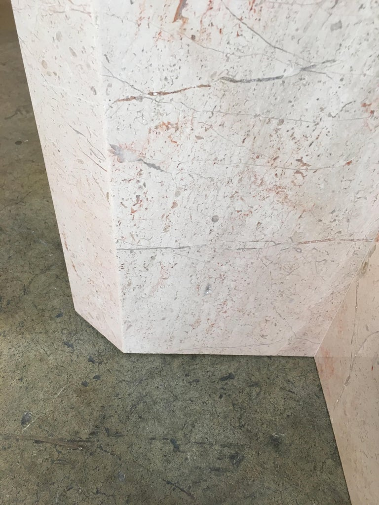 Crema Italia, Beige Marble X Base Side Table For Sale 1