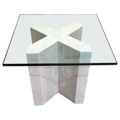 Crema Italia, Beige Marble X Base Side Table
