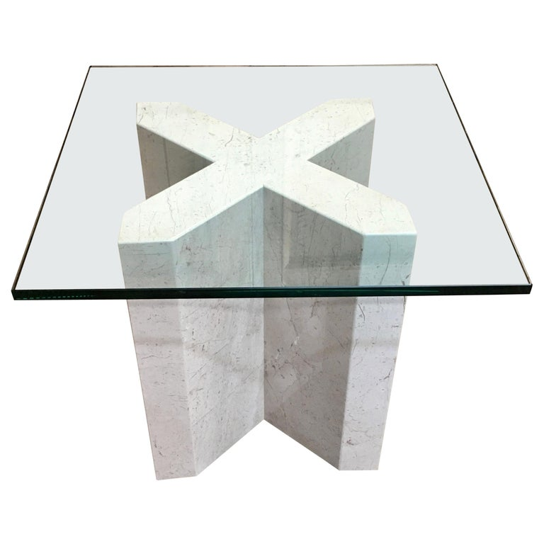 Crema Italia, Beige Marble X Base Side Table For Sale