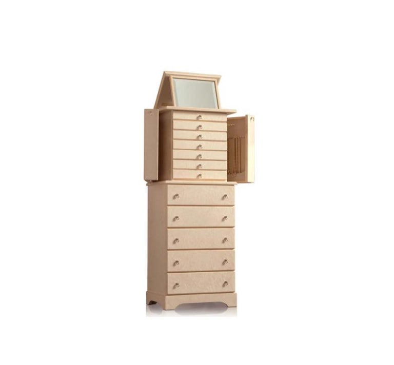 Crema Lo Scrigno armoire in bird's-eye maple by Agresti.  VAT will be applicable in the UK.