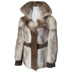 Creme/Brown Mink Fur Coat with Brown Suede Leather panels