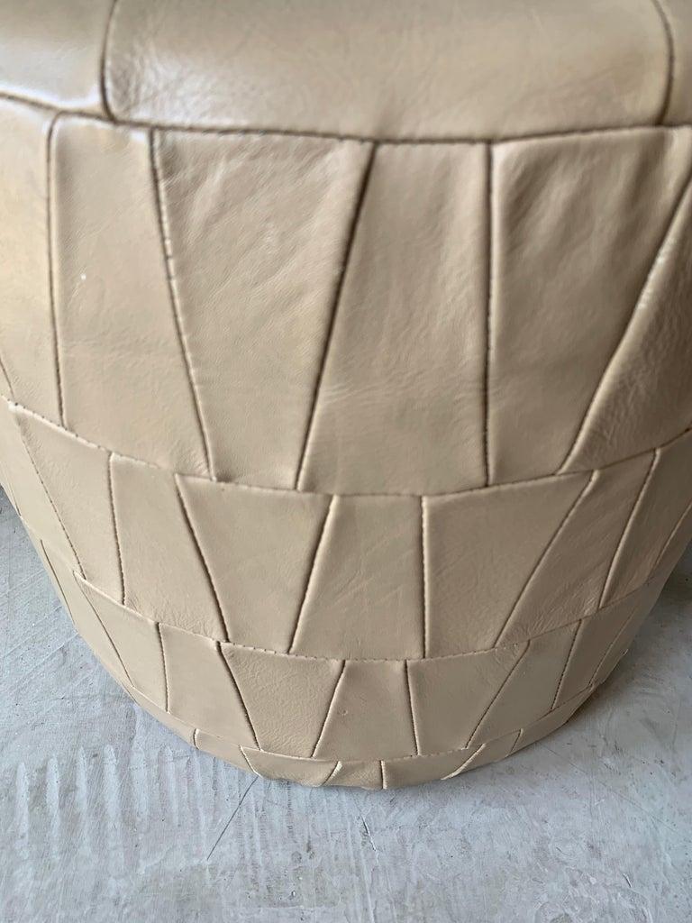 Swiss Crème Leather Patchwork Ottoman by De Sede For Sale