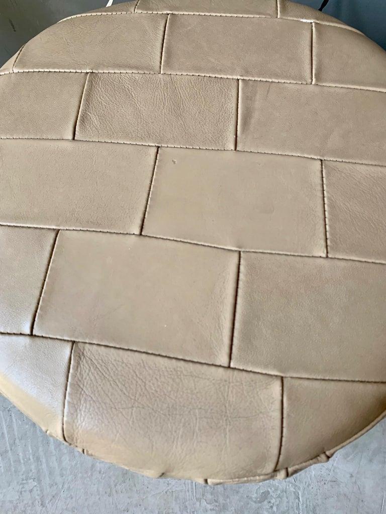 Crème Leather Patchwork Ottoman by De Sede For Sale 1