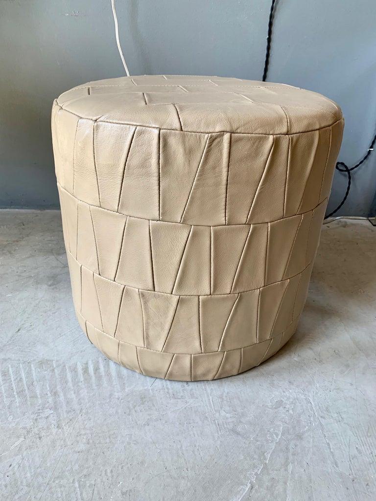 Crème Leather Patchwork Ottoman by De Sede For Sale 2