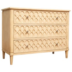 Crème Paint Midcentury Chest with Raised Optic Decoration