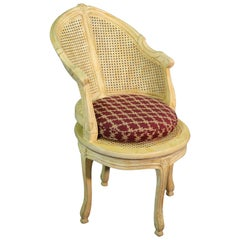 Creme Painted Swiveling French Louis XV Cane Corner Occasional Chair