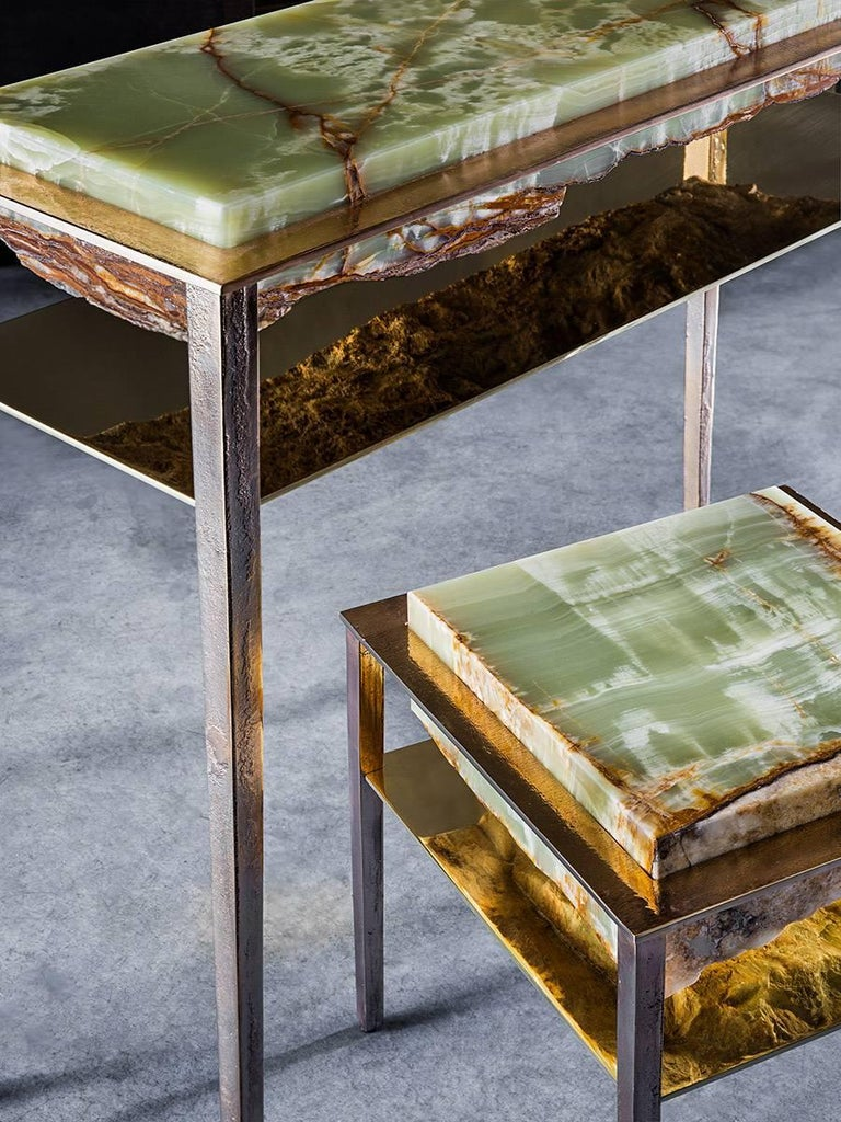 Italian Cremino Green Onyx Console Handcrafted by Gianluca Pacchioni For Sale
