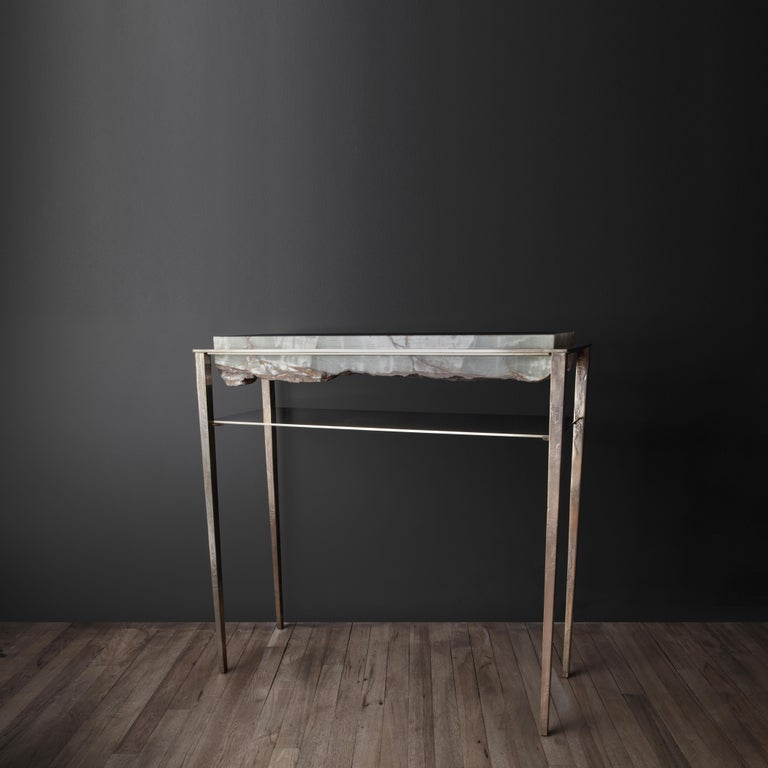 Cast Cremino Green Onyx Console Handcrafted by Gianluca Pacchioni For Sale