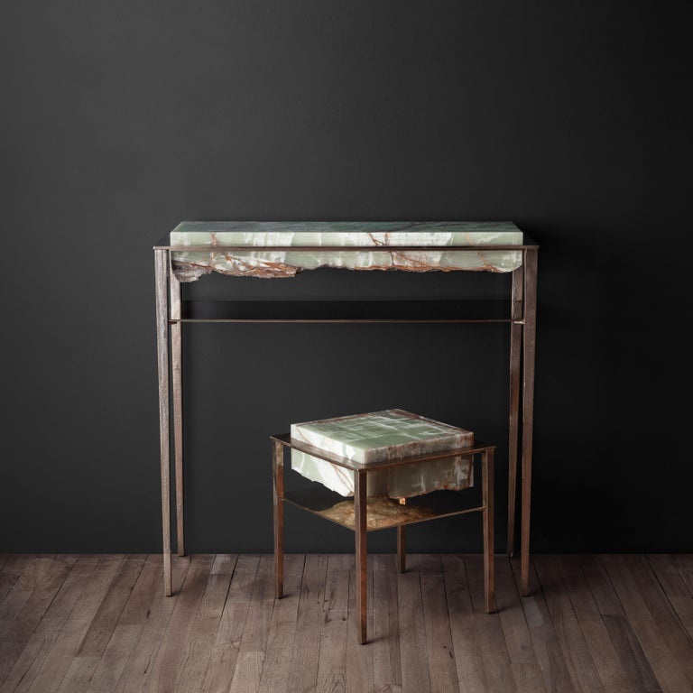 Cremino Green Onyx Console Handcrafted by Gianluca Pacchioni In New Condition For Sale In New York, NY