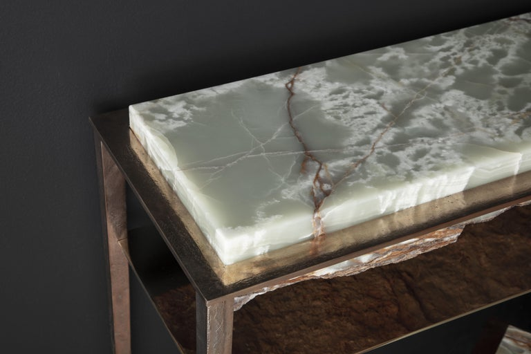 Contemporary Cremino Green Onyx Console Handcrafted by Gianluca Pacchioni For Sale
