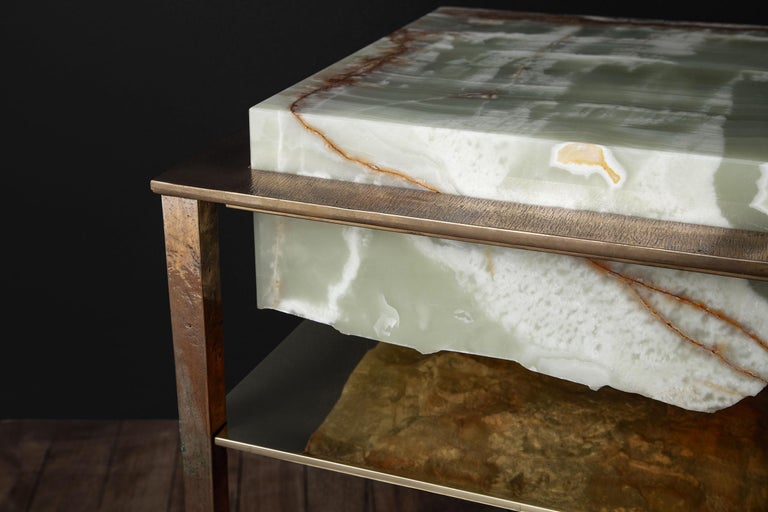 Cremino Green Onyx Console Handcrafted by Gianluca Pacchioni For Sale 1
