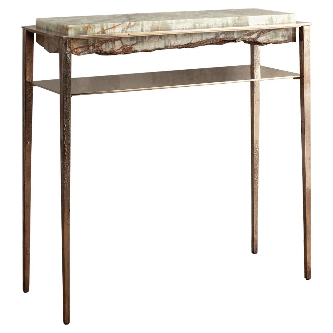 Cremino Green Onyx Console Handcrafted by Gianluca Pacchioni