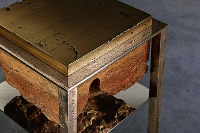 Italian Cremino Side Table Handcrafted by Gianluca Pacchioni For Sale
