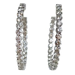 Creole Earrings in 18 Carat White Gold Setting 7.11 Carat of Diamonds