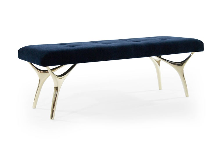 American Stamford Modern's Crescent Bench in Midnight Blue Mohair For Sale