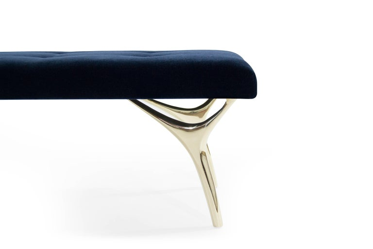 Contemporary Stamford Modern's Crescent Bench in Midnight Blue Mohair For Sale
