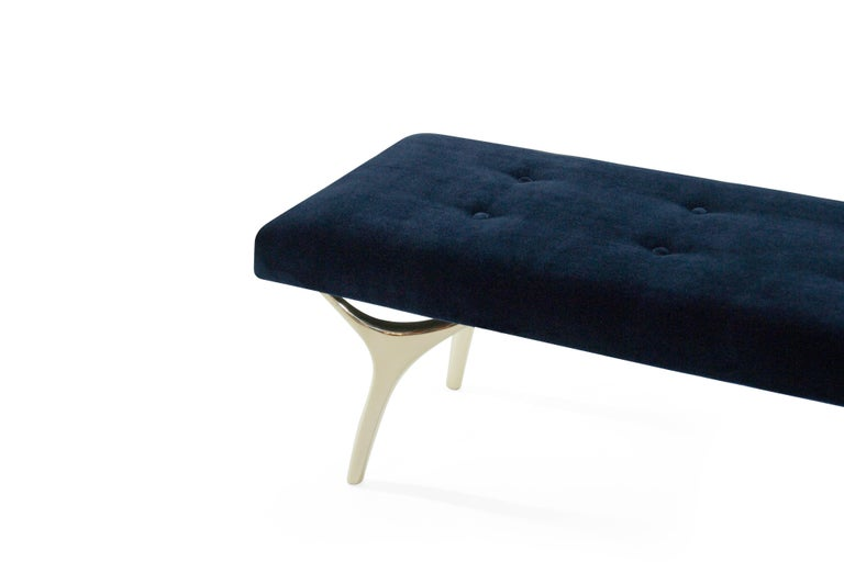 Brass Stamford Modern's Crescent Bench in Midnight Blue Mohair For Sale