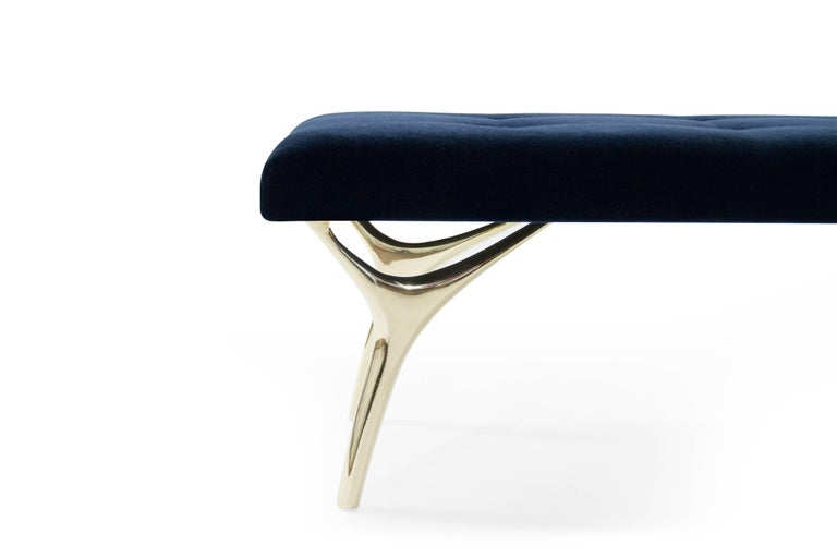 Stamford Modern's Crescent Bench in Midnight Blue Mohair For Sale 1