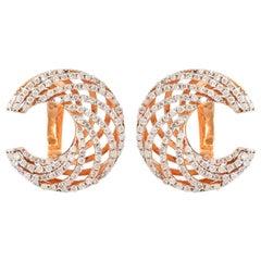 Crescent Diamond 18 Karat Rose Gold Stud Earrings