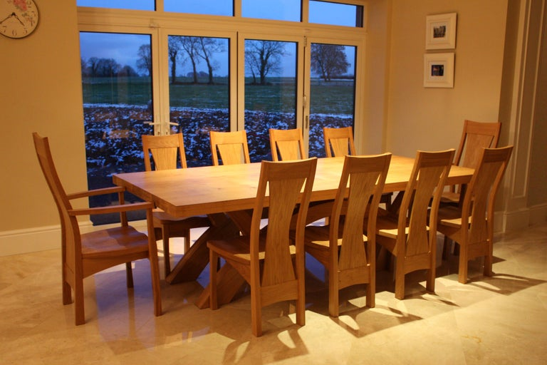 Irish Crescent Dining Table in Oak, Designed and Made to Order by Dunleavy Bespoke For Sale