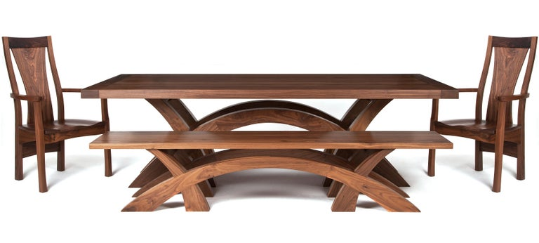 Hand-Crafted Crescent Dining Table in Oak, Designed and Made to Order by Dunleavy Bespoke For Sale
