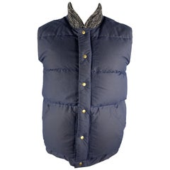 CRESCENT DOWN WORKS Size M Navy Quilted Cotton Knitted Collar Zip & Snaps Vest