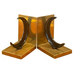 Crescent Moon & Brass Art Deco Bookends by Walter Von Nessen for Chase & Co.