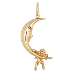 Crescent Moon Charm Estate 14k Gold Man in Moon Winged Angel Pendant Jewelry